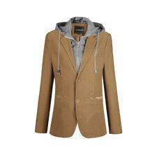 Men 2 in 1 Detachable Hooded Suit Slim Coat Jacket Blazer Outwear Top Fit Casual