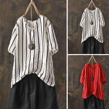 ZANZEA Women's Stripe Shirt Tops Summer Short Sleeve T-Shirt Tee Shrt Plus Size