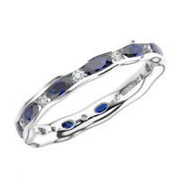 1.25Ct Round Cut Diamond & Blue Sapphire Full Eternity Ring In 9K White Gold