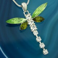 DRAGONFLY W Swarovski Crystal Green Charm Wings New Pendant Necklace Winx Gift