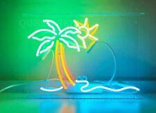 "13"" Happy Hour Beach Palm Tree Sun Neon Sign Light Beer Bar Pub Lamp Glass"