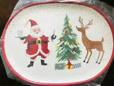 Pottery Barn Kids Jolly Santa Platter Christmas Holiday Plate Decor Serving New