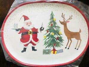 Pottery Barn Kids Jolly Santa Platter Christmas Holiday Plate Decor Serving New