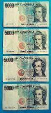 ITALIA REPUBBLICA - n. 4 Banconote da 5000 Lire Vincenzo Bellini 1985 circolate