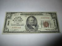 $50 1929 Dayton Ohio OH National Currency Bank Note Bill! Ch. #2604 VF! Winters!