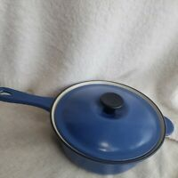 Le Creuset Blue Enameled Cast Iron Sauce Pan Pot #22 With Lid #20 France