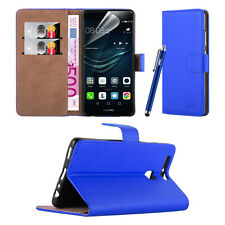 Huawei P9 Leather Wallet Book Card Case Cover + Free Screen Protector & Stylus