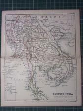 1887 ANTIQUE MAP ~ FARTER INDIA ~ SIAM CAMBODIA BURMA TONQUIN ANAM