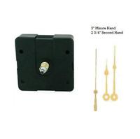 """Clock Movement Mechanism Quartex with 3"""" Gold Spade Hands Long Shaft"""