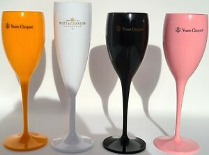 Veuve Clicquot Party Set + Moet Ice Imperial Acrylic Champagne Flutes 4 Total