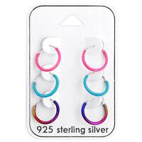 925 Sterling Silver Rainbow Blue Pink Sleeper Endless Hoop Earrings 3 Pair 12mm