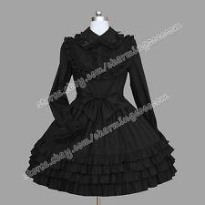 Reenactment Gothic Lolita Punk Classic Black Ruffle Romantic Victorian Dress New