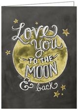 LILY AND VAL BLACKBOARD GREETING CARD: LOVE YOU TO THE MOON AND BACK - NEW