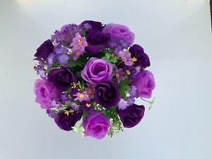 Beautiful artificial Purple flower arrangement in grave/memorial/crem pot