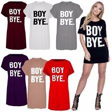Womens Ladies Black BOY BYE Turn Up Short Sleeve T-Shirt Tops Slim Dress UK 8-26