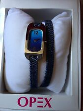 New French Designer OPEX 'Ballerina' Denim Leather Extra Long Strap Watch