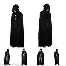 FL Hooded Cape Adult Unisex Long Cloak Black Halloween Costume Dress Coats