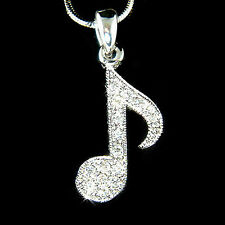 w Swarovski Crystal Piano MUSIC musical ~Eighth NOTE Quaver Pendant Necklace New