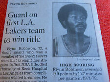 1941-2013 FLYNN ROBINSON OBITUARY GUARD ON FIRST L.A. LAKERS TEAM TO WIN TITLE