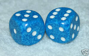 BLUE SPECKLED DICE PAIR