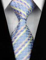 AS0013 Blue Green Purple Stripe Classic Elegant Woven 100%Silk Necktie Man's Tie