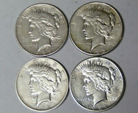 Lot of 4 Peace Silver Dollars 1922-D 1922-S 1923-D 1923-S