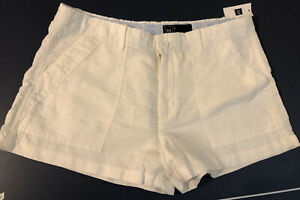 Gap Women's Ladies White Linen Blend Utility Shorts Size 8 Brand New With Tags