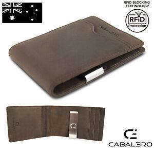 Cabaleiro Mens Brown Leather Bifold Credit Card Wallet, Money Clip RFID blocking