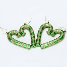 "5.5"" Glittering Candy Canes Christmas Ornaments Pendants 4 In A Pack Green"