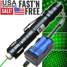 900Mile 532nm Green Laser Pointer Pen Visible Beam+Battery+Dual Charger+Star Cap