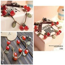 New Fashion Sweet Girls Women Lady Chain Bracelet Ruby Cherries Charm Pendant