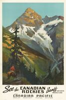 Vintage Travel Poster See the Canadian Rockies Canadian Pacific 35.8 x 24 inch