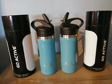 Go Active Insulated Stainless Steel Water Bottle, 16 oz 2 for 1 price Straw Lid