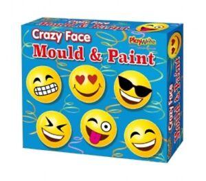 FUNNY FACE MOULD AND PAINT FRIDGE MAGNETS SET - 140-242 EMOJI CRAFT KIDS FUN ART