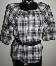 COUNTRY ROAD Size Small Check Tartan PEASANT TOP + Matching Leather BELT