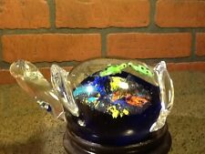 Vintage Art Glass Paperweight - Turtle w/Turtles