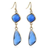 Boucles d'oreilles Art Deco Diamentine Goutte Cristal Bleu Sapphire Retro DD14