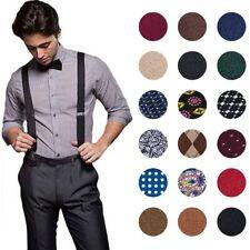 Clips Suspenders for Men Elastic Leather Adjustable Y-back Braces Vintage Dress