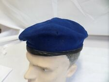 OLD BAMBERGER  GERMAN ARMY BLUE  BERET LEATHER TRIM SIZE 60 ARMY SURPLUS