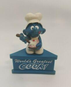 """Smurfs """"World's Greatest Cook"""" Greedy Smurf, Schleich PVC Mini Figurine Vintage!"""