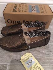 NWT TOMS BRONZE GLITTER Sparkle Slip On Ballet Flats WOMEN'S CLASSICS SHOES 5.5