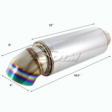 """4"""" Rainbow Burnt Knife Style Tip Stainless Weld-on Muffler 3"""" Inlet For SUBARU"""