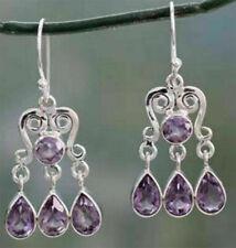 Fashion Women Amethyst Sapphire Bridal Wedding Earrings 925 Silver Fine Jewelry