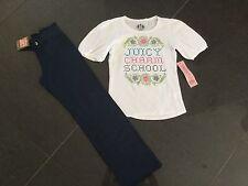 NWT Juicy Couture New & Gen Girls Age 8 Blue Cotton Pants & White Cotton T-Shirt