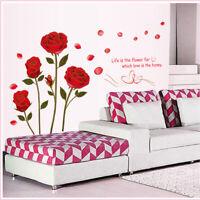 Red Rose Home Decor Stickers Flower Wall Sticker Art DIY Supplies LA Mural Decal