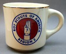 Vintage ~ Boy Scouts of America Region 3 B.S.A. Coffee Mug RETRO gold rim SIGN