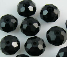 New Faceted 200pcs BLACK Rondelle glass crystal 6x8mm Beads DIY