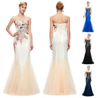 PEACOCK Mermaid Formal Long Prom Gown Bridesmaid Cocktail Party Evening Dresses