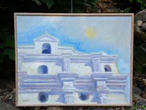 "Donald Blome Original 32 x 25"" Acrylic on Linen ""Guatemala"" Church Framed"