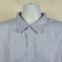 Johnston & Murphy Blue Lavender Check Plaid Mens Dress Button Shirt Size 2XL XXL